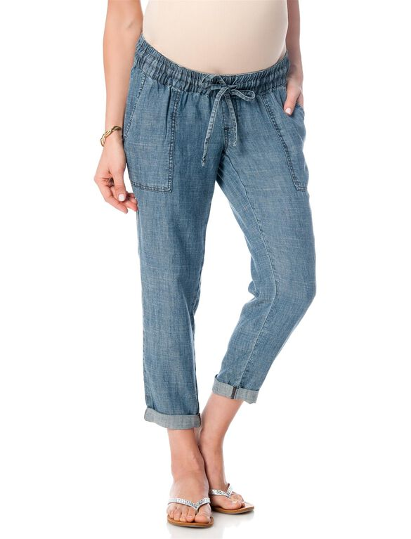 Pull On Style Chambray Straight Leg Maternity Crop Pants, Chambray