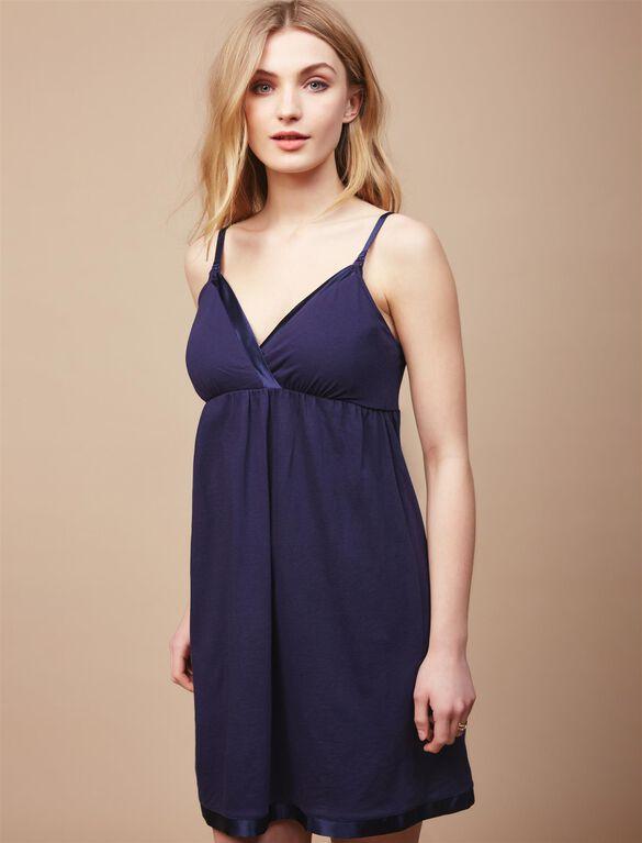 Satin Trim Maternity Nightgown And Robe Set, Navy Stripe