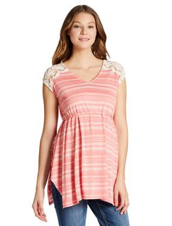 Jessica Simpson Crochet Detail Maternity Shirt, Tea Rose Stripe