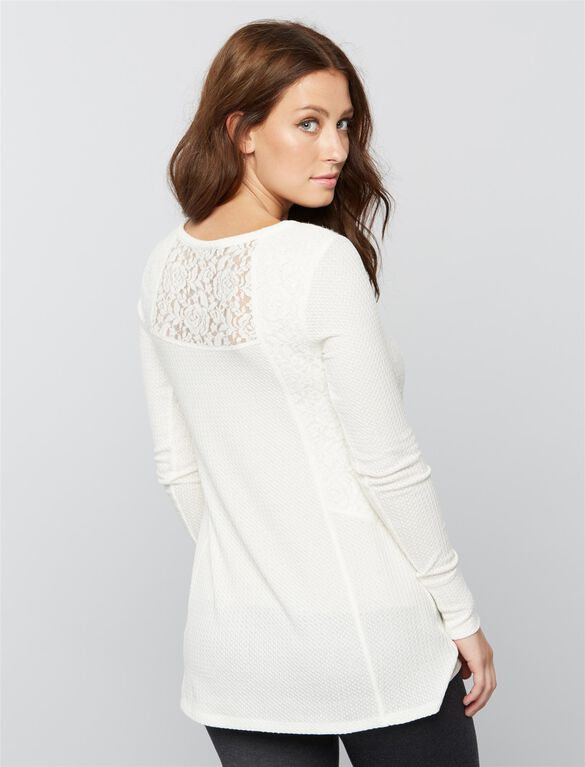 Lace Maternity Top, White