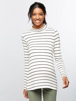 Splendid Striped Maternity Tunic, White Stripe