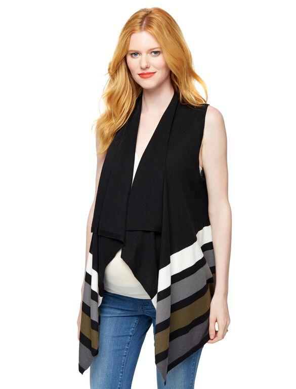 Open Front Striped Maternity Vest, Multi Stripe