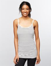 Luxe Clip Down Nursing Cami- Stripe, Black/White Stripe