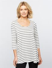 Side Zip Nursing Tee, Heather Grey Stripe