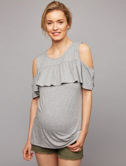Envie De Fraise Ruffled Cold Shoulder Maternity Top- Grey, Grey