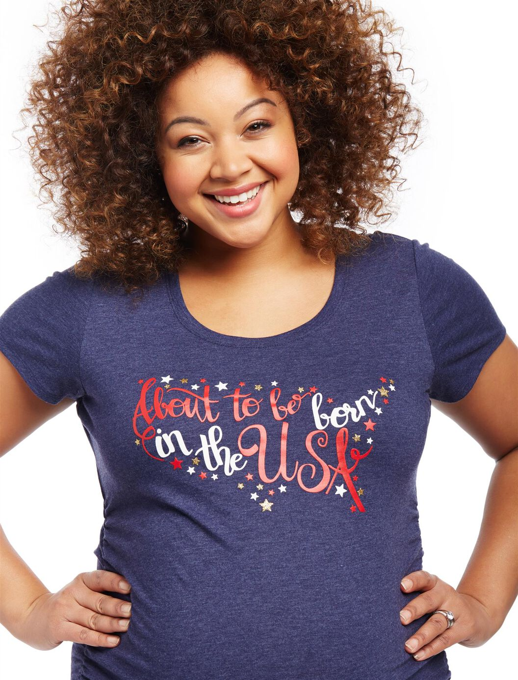 Plus Size About to be Born in The USA Maternity Tee at Motherhood Maternity in Victor, NY | Tuggl