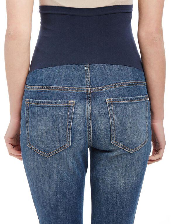 Secret Fit Belly Skinny Leg Maternity Crop Jeans, Dark Wash
