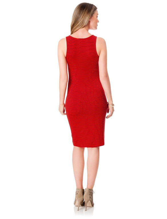 Splendid Maternity Dress, Poppy Red Stripe