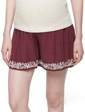 Secret Fit Belly Embroidered Hem Maternity Shorts, Dusty Plum
