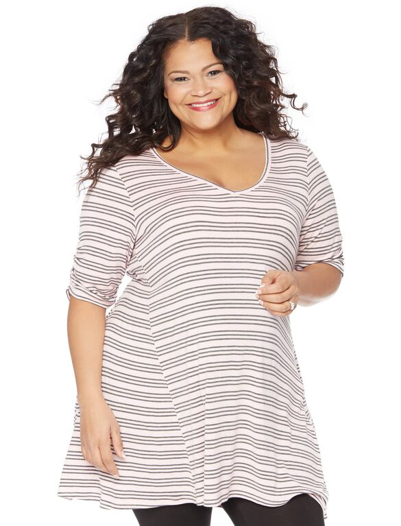 Plus Size Hanky Hem Maternity Tunic, Pink/Grey Stripe