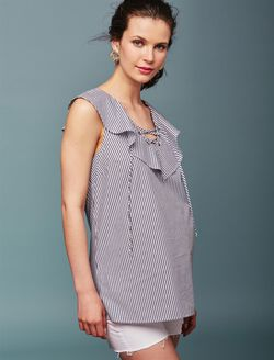 Ella Moss Ruffle Front Maternity Top, Navy Stripe