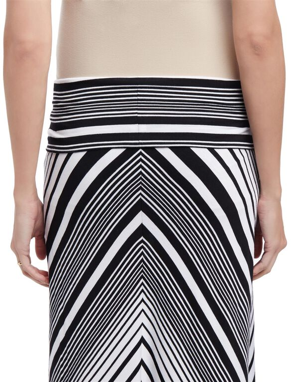 Fold Over Belly Maternity Maxi Skirt- Black/White Stripe, Black/White Stripe