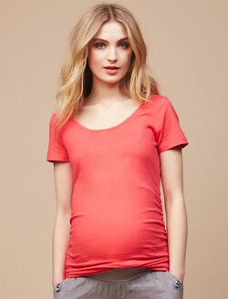 Side Ruched Maternity Tee, Teaberry