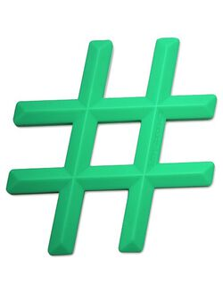 Little Standout Silicone Hashtag Teether, Minty Green Hashtag