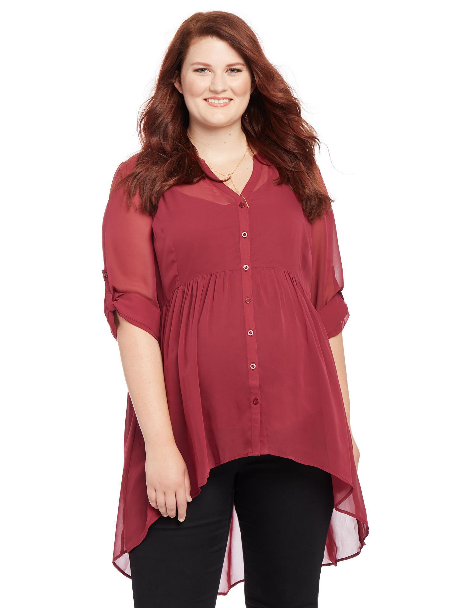 Plus Size Convertible Sleeve Maternity Blouse