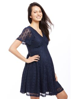 Keyhole Detail Maternity Dress, Navy
