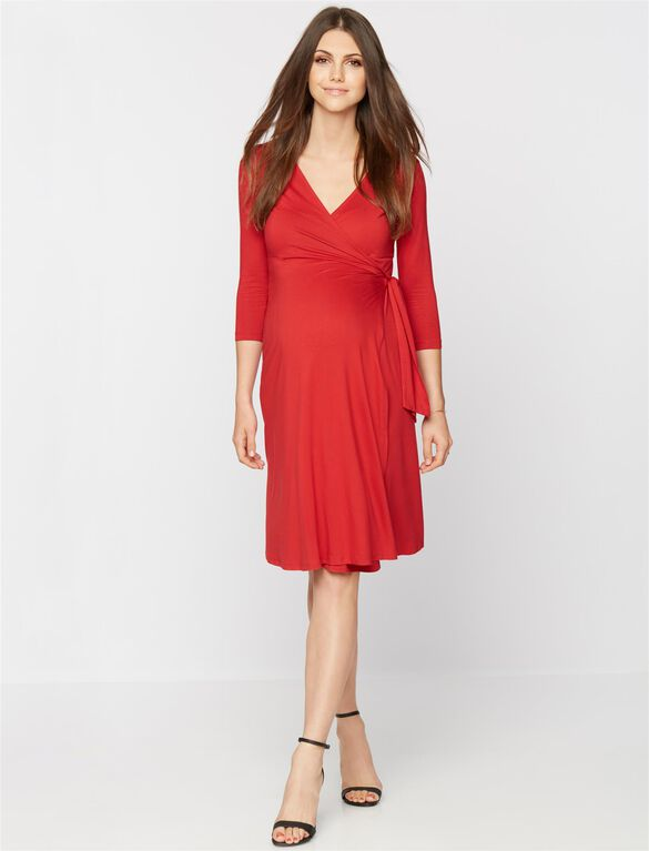 3/4 Sleeve Wrap Maternity Dress, Carmine Red