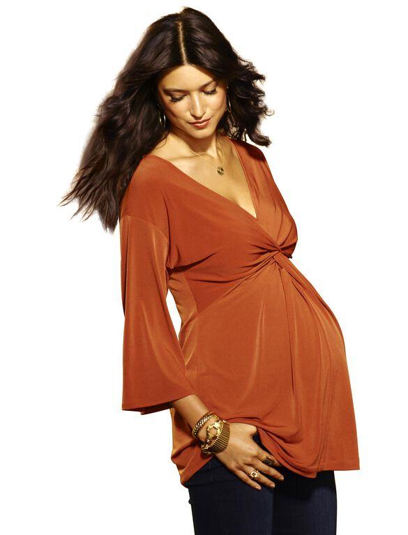Dolman Sleeve Maternity Top, Saddle