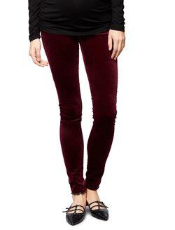 AG Jeans Secret Fit Belly Velveteen Maternity Skinny Pants, Burgundy