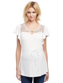 Lace Detail Flutter Sleeve Maternity Shirt, Egret