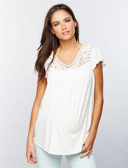 Daniel Rainn Lace Trim Maternity Shirt, Soft White