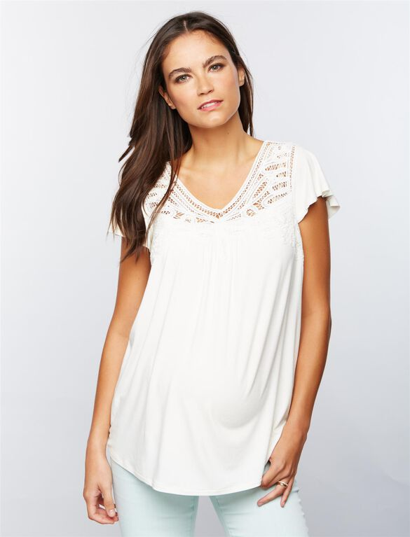 Daniel Rainn Lace Trim Maternity Shirt, Soft White