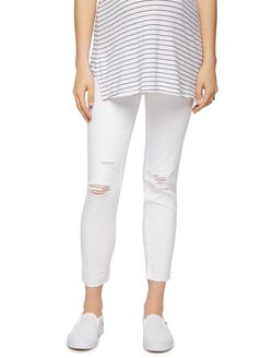 Luxe Essentials Denim Skinny Leg Maternity Jeans-White, White