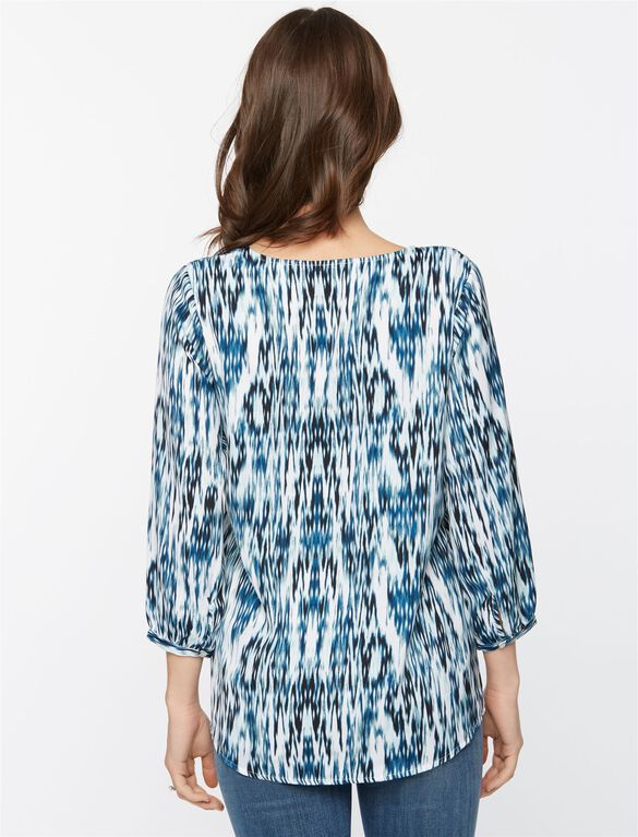 Lace Trim Maternity Blouse, Border Print