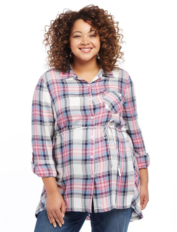 Plus Size Plaid High-Low Maternity Tunic, Multi Plaid