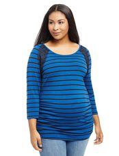 Plus Size Lace Trim Maternity Tee, Blue Stripe