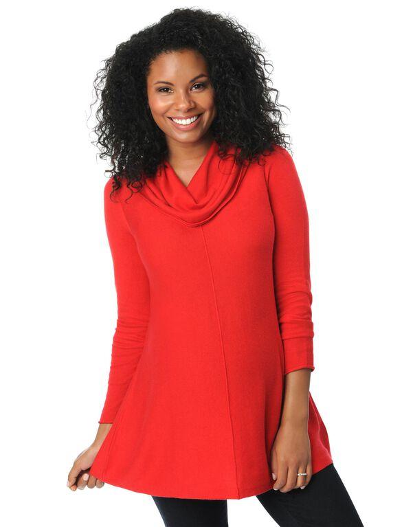 Hanky Hem Maternity Sweater, Barbados Cherry