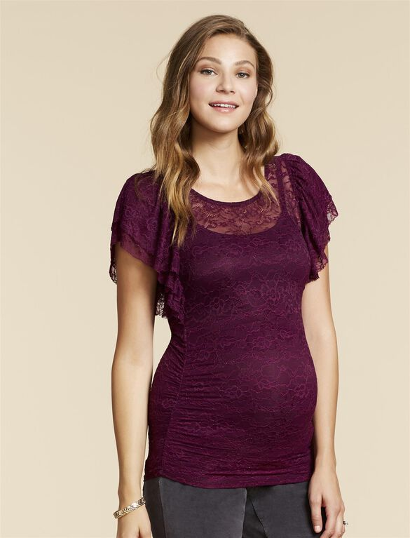 Jessica Simpson Flutter Sleeve Maternity Top, Purple