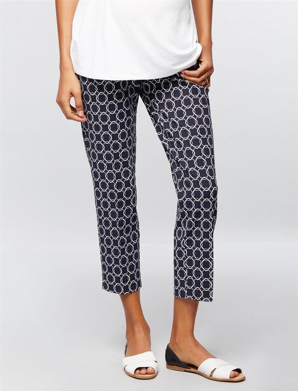 Secret Fit Belly Straight Ankle Maternity Pants- Lighter Navy, Navy White Geo Print