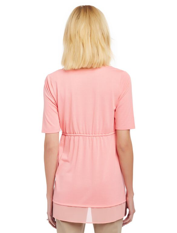 Knit Woven Tie Detail Maternity Top, Salmon Rose
