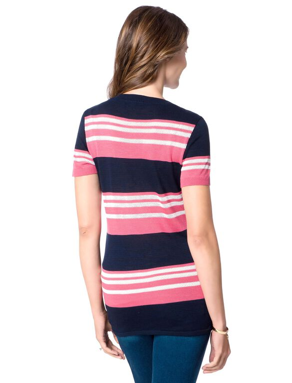 Striped Maternity Sweater, Pink/Navy Stripe