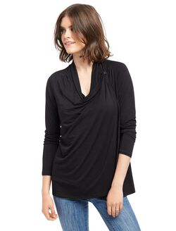 Pull Over Faux Wrap Nursing Top- Black, Black