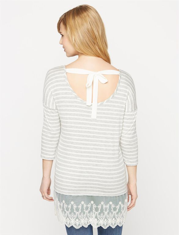 Lace Trim High-low Maternity Tee, Heather Grey/White