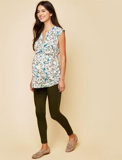 Secret Fit Belly Skinny Twill Maternity Pants- Olive, Olive