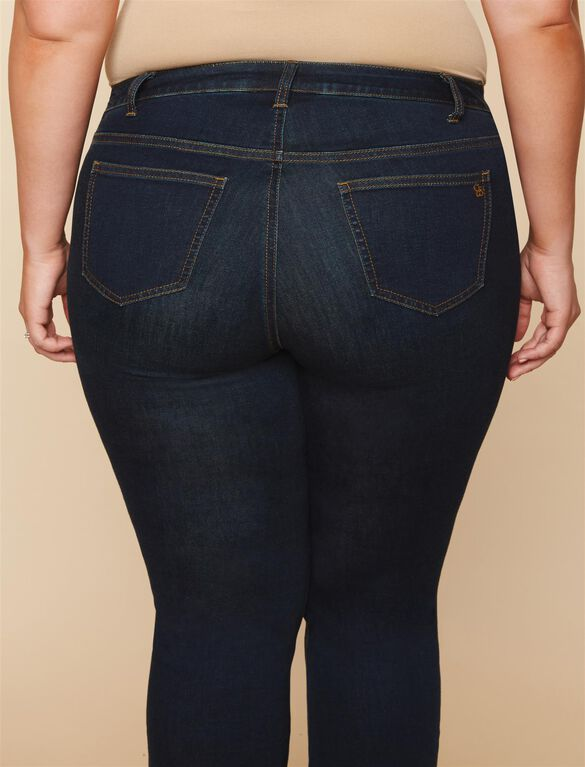 Jessica Simpson Plus Size Side Panel Boot Cut Maternity Jeans, DARK WASH