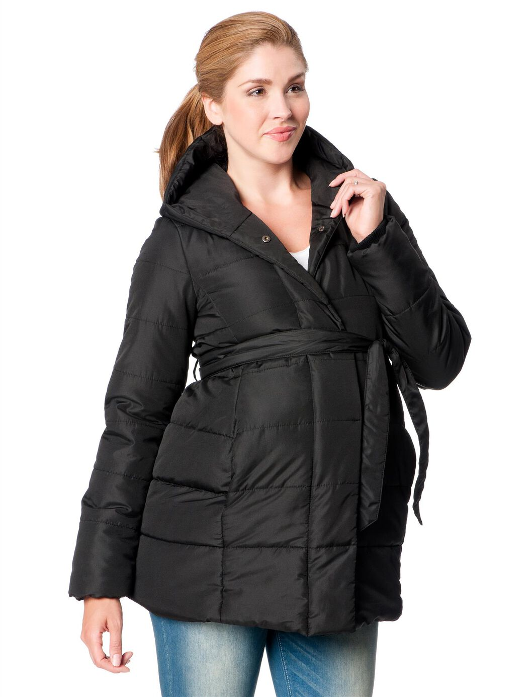 Hooded Quilted Puffer Maternity Coat at Motherhood Maternity in Victor, NY | Tuggl