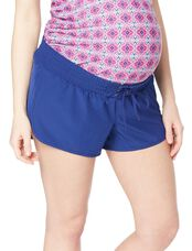 Tie Front Maternity Board Shorts, Blue
