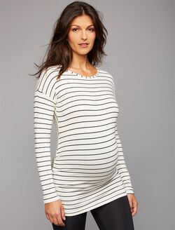 Beyond The Bump Super Soft Maternity T Shirt, White/Black Stripe