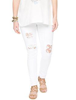Indigo Rein Secret Fit Belly Crochet Maternity Jeans, White