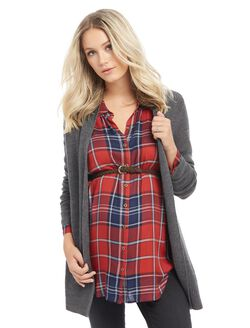 Open Front Maternity Cardigan, Charcoal