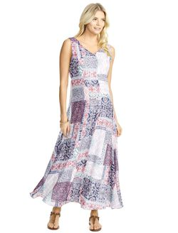 Jessica Simpson Patch Print Maternity Maxi Dress, Patchwork Print