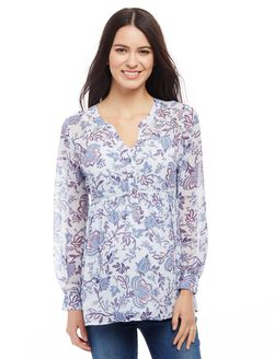 Babydoll Lattice Maternity Blouse, Blue Floral