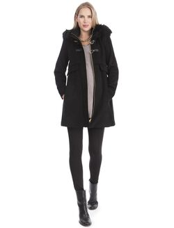Toggle Closure Rayon Maternity Jacket, Black