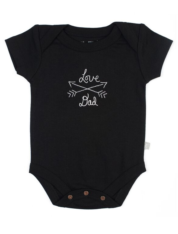 Finn + Emma Love Dad Organic Baby Bodysuit, Black