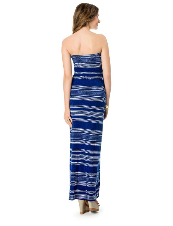 Tie Detail Maternity Maxi Dress, Navy Stripe