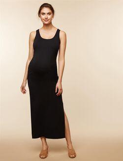 Rib Knit Maternity Maxi Dress, Black